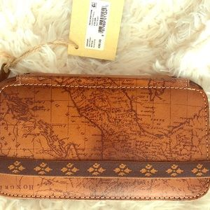 Italian leather world map wallet (NEW)
